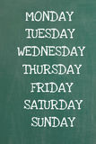 Days of the Week. The days of the week written on a board stock photography