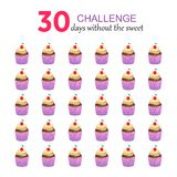 30 days withot the sweet. Concept of a sweet holiday. Capcake, dessert, pastries, cherry. Paper cut background. royalty free illustration