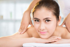 Dayspa. Copy-spaced portrait of a woman in the spa salon on the foreground Stock Photography