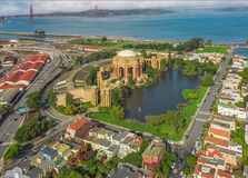 Free Daytime Aerial Photo Of The Palace Of Fine Arts, In San Francisco, California, USA. The Golden Gate Bridge Is In The Background. Stock Image - 213866801