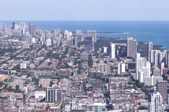 Daytime aerial view of Chicago. Daytime aerial city view, could pass for any city with a shoreline Stock Photos
