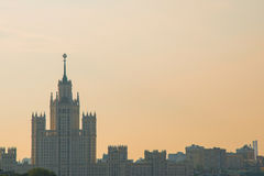 Daytime aerial view of Moscow soviet architecture sunrise. Famous building early morning Stock Images