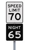 Daytime And Nighttime Speed Limit Signs Stock Images