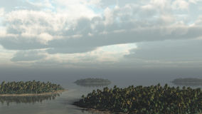 Daytime Background. 3D rendering of a high quality and high resolution scenery of calm ocean surface in mid daytime with realistic computer generated clouds Stock Image