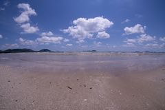 Daytime beach wide angle. Sairee Beach, March 2019. Fluffy white clouds and blue skies