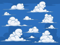 Daytime cartoon clouds Stock Images