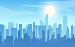 Daytime cartoon flat style cityscape, skyline, skyscrapers panor. Ama, urban background. Vector illustration vector illustration