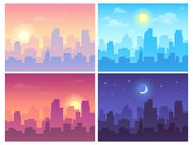 Daytime cityscape. Morning, day and night city skyline landscape, town buildings in different time and urban vector vector illustration