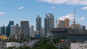 Daytime and crane with building construction in Bangkok city Thailand, Timelapse 4k stock video footage