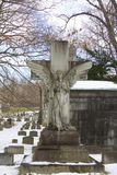 Daytime exterior stock photo of angel headstone Royalty Free Stock Images