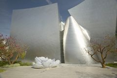 Daytime exterior view of Disney Concert Hall, designed by Frank Gehry, in downtown Los Angeles, California Stock Photos