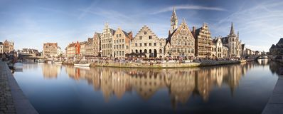 Ghent Panorama, Belgium. Daytime long exposure panorama of the famous canal view at Graslei in Ghent, Belgium stock photos