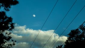 Daytime moon after new year. Stock Photo