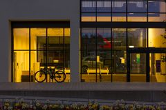Day and night series of office facades Stock Photos
