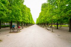 A Footpath in the Tuileries Garden in Paris, France. royalty free stock image