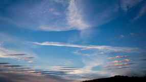 Daytime sky with cirrus and stratus clouds. Hdr wide-angle contrast daytime nature background Stock Photos