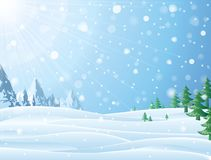 Daytime snowy scene with ridge and christmas trees. Snowfall against winter landscape of mountains and pines. Vector image for new years day, christmas, winter Royalty Free Stock Photography