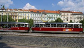 Daytime street in Prague Stock Photos