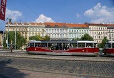 Daytime street in Prague Stock Photo