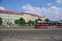 Daytime street in Prague Royalty Free Stock Images
