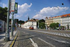 Daytime street in Prague Stock Photography
