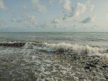 Daytime sun on the sea coast stock photo