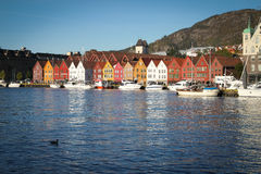 Daytime and sunny in Bergen, Norway Stock Images