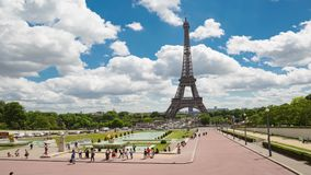 Daytime timelapse of Eiffel Tower, Paris stock video