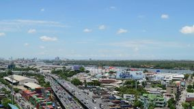Daytime transportation and river with cargo ship in Bangkok city Thailand, Timelapse. Bangkok, Thailand - June 9, 2015 : Daytime transportation and river with stock video footage