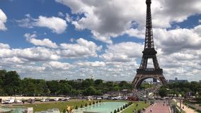 Daytime view of Eiffel Tower, Paris stock footage