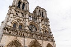 Notre Dame de Paris in Paris, France. A daytime view of the front of the Notre Dame de Paris royalty free stock photo