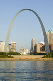 Daytime view of Gateway Arch (Gateway to the West) and skyline of St. Louis, Missouri at sunrise from East St. Louis, Illinois on  Stock Photos