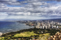A daytime view over Honolulu in Hawaii Royalty Free Stock Photo