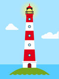 Daytime view of a striped lighthouse Royalty Free Stock Photography