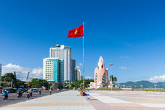 Daytime view of Tram Huong Tower and Nha Trang skyline, Vietnam Royalty Free Stock Photography