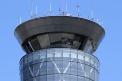 Dayton - Circa April 2018: The Air Traffic Control Tower at Dayton International Airport III. The Air Traffic Control Tower at Dayton International Airport Stock Photos