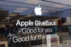 Dayton - Circa April 2018: Kleinhandels de Wandelgalerijplaats van Apple Store Apple verkoopt en de diensten iPhones en iPads I Stock Afbeelding
