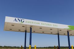 American Natural Gas filling station. ANG designs, builds, owns, operates and maintains natural gas fueling stations. Dayton - Circa July 2019: American Natural royalty free stock photos