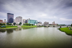 Dayton Ohio city skyline. Riverside city skyline of Dayton ohio royalty free stock photos