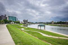 Dayton Ohio city skyline. Riverside city skyline of Dayton ohio royalty free stock photos