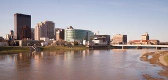 Dayton Ohio Downtown City Skyline Great Miami River. The Miami River travels along passing through Dayton Ohio stock image