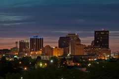 Dayton Ohio skyline at dusk. Downtown Dayton, Ohio, skyline just after sunset stock photography