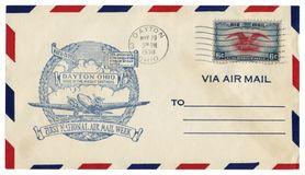 Dayton, Ohio, The USA  - 19 MAY 1938: US historical envelope: cover with cachet Home of the Wright brothers, first national Air ma. Il week, postage stamp eagle stock images