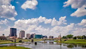 Dayton Ohio. A view downtown Dayton, Ohio as Mad River wraps around on a nice afternoon royalty free stock photography
