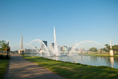 Dayton Riverscape Fountains Royalty Free Stock Image