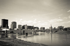 Dayton Riverscape Scene BW. A view of the Riverscape park area featuring powerful fountains in Dayton, Ohio on a sunny day Stock Photos