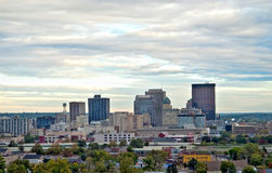 Dayton Skyline HDR Close. A close look at the skyline downtown Dayton, Ohio from above in early morning hours Royalty Free Stock Images