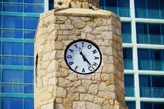 Daytona Beach clock. In front of a ocean view hotel, Florida, USA Royalty Free Stock Images