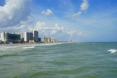 Daytona Beach ocean view hotel. And wave, Florida, USA Royalty Free Stock Photo