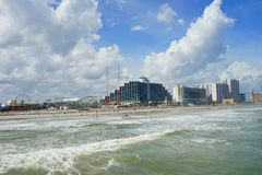 Daytona Beach ocean view hotel. And wave, Florida, USA Stock Image